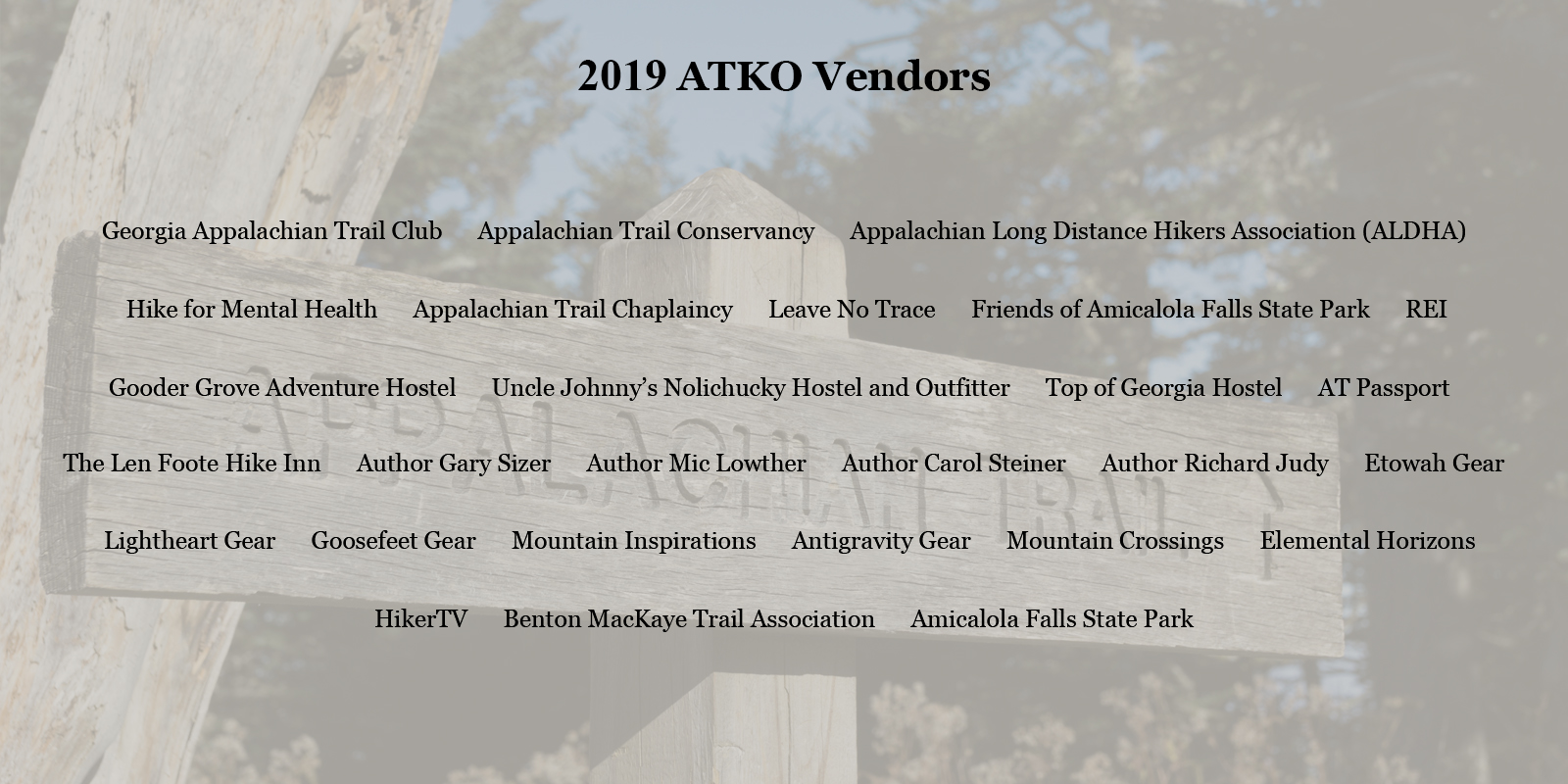 2019 Appalachian Trail Kick Off Vendor List