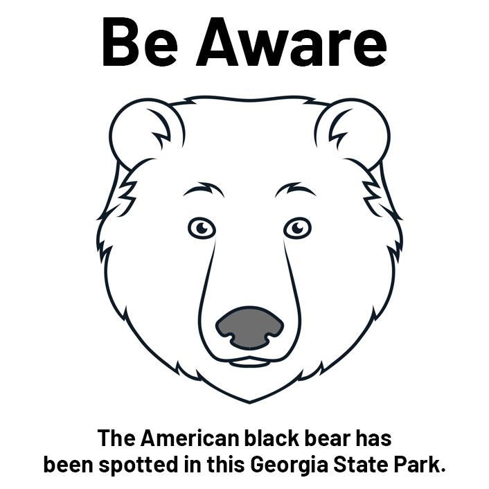 Be aware of black bears in the park